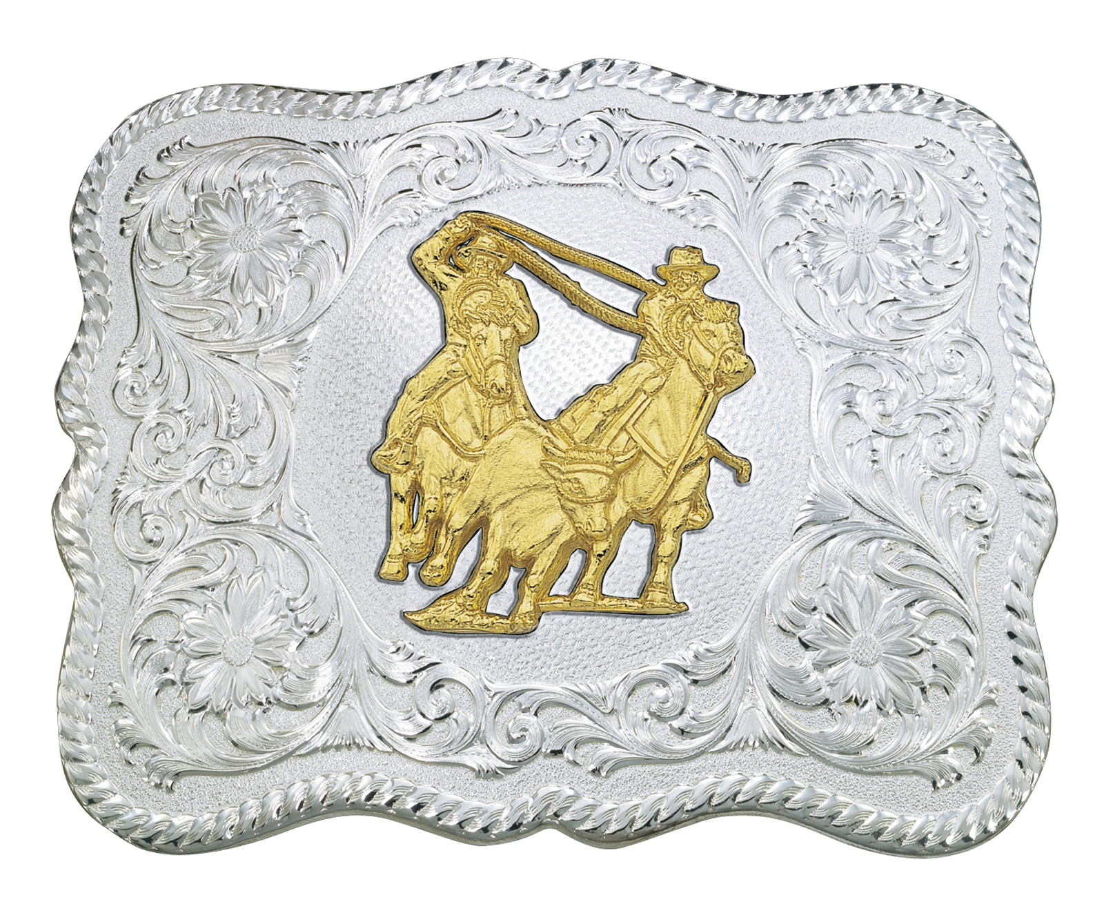 Montana Silversmiths Scalloped Silver Western Belt Buckle with Team Ropers