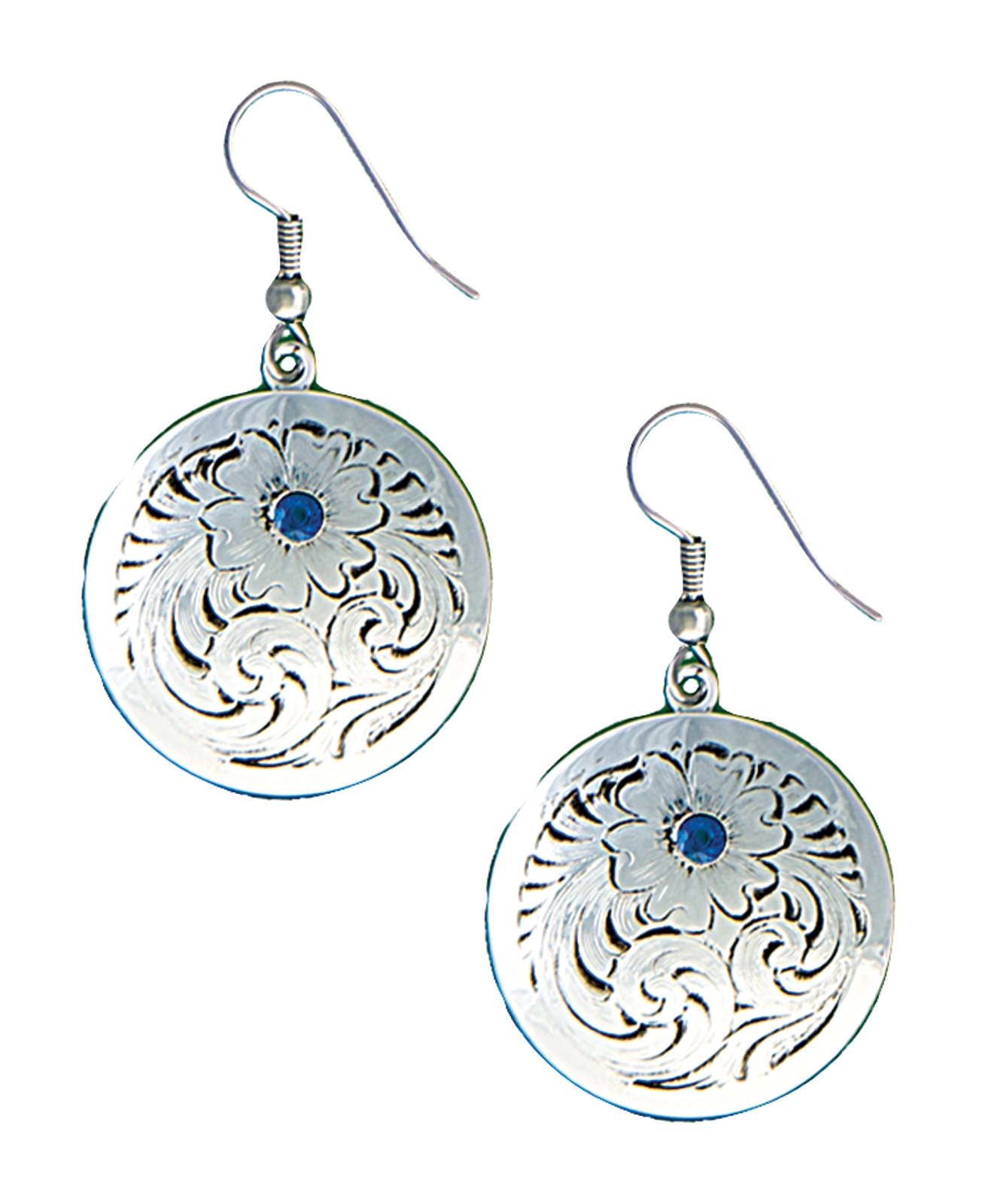 Montana Silversmiths True Blue Classic Montana Silver Engraved Concho Earrings