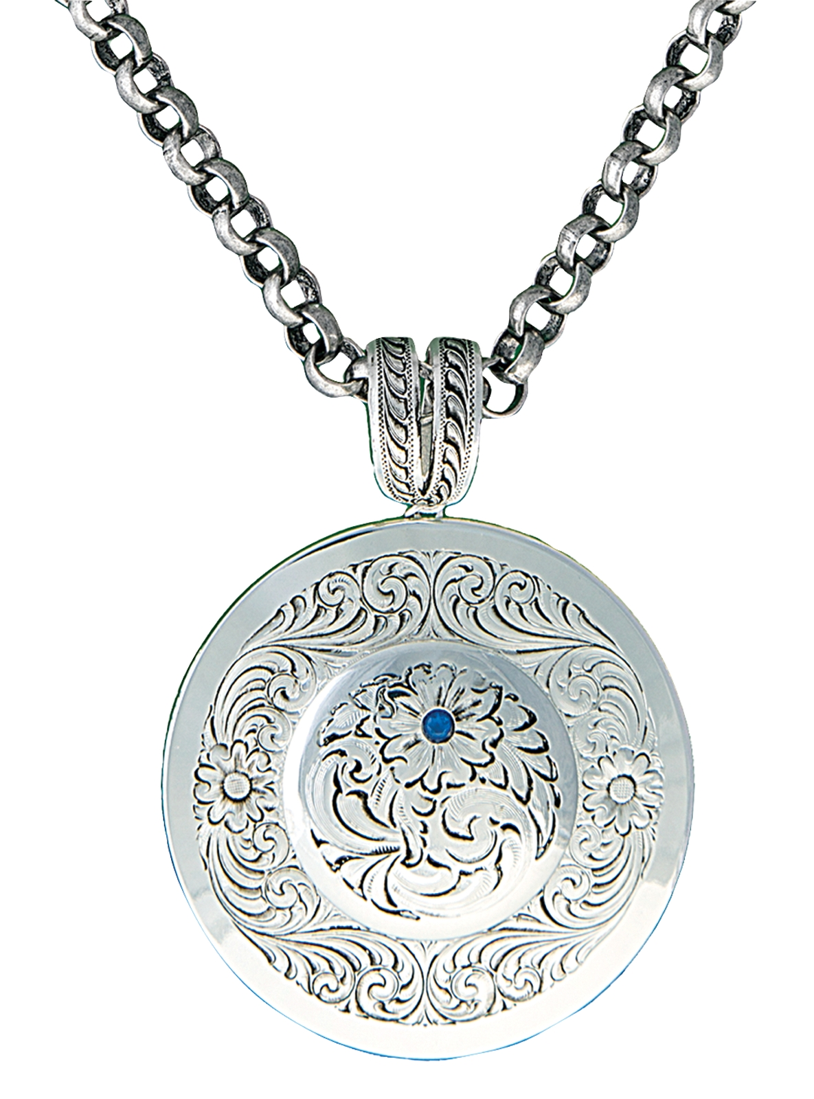 Montana Silversmiths True Blue Classic Montana Silver Engraved Concho Necklace