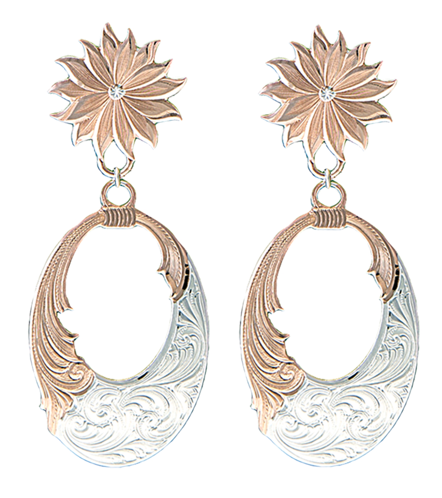 Montana Silversmiths Rose Gold Bitterroot Mountain Wreath Dangle Earrings