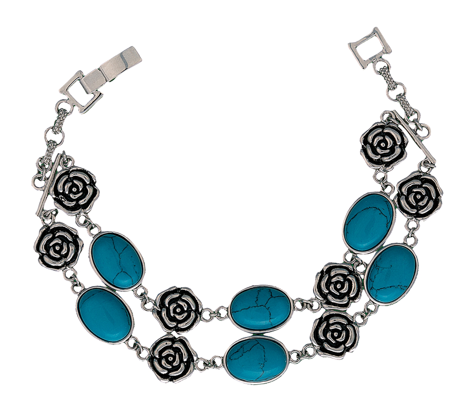 Montana Silversmiths Turquoise and Roses Link Bracelet