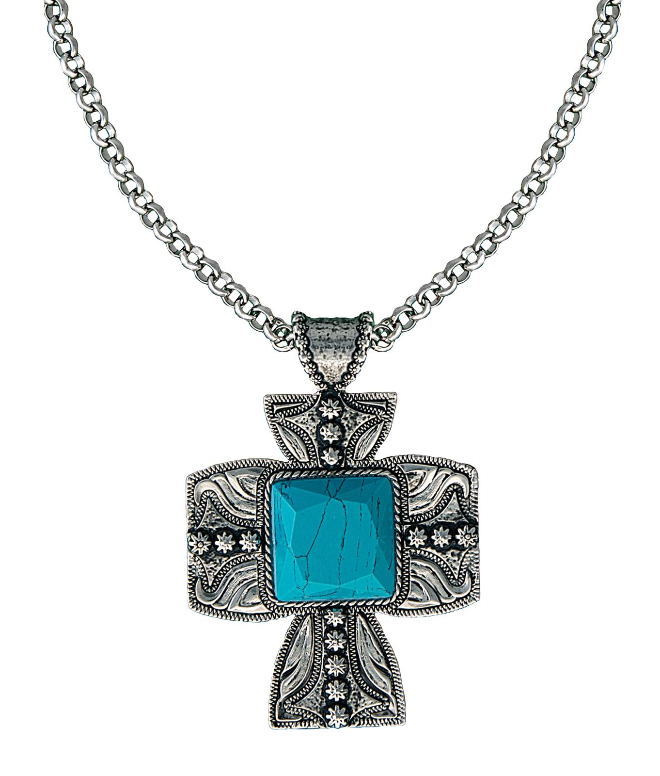Montana Silversmiths Blue Earth underofSilver Sky Cross Pendant Necklace
