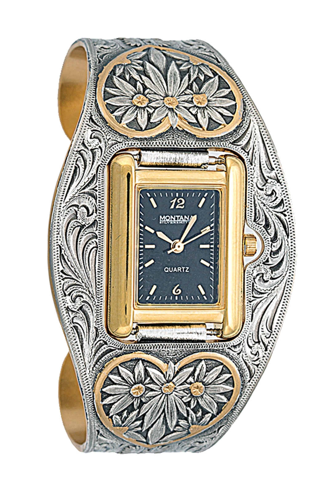 Montana Silversmiths New Classic Vintage West Ladies Black Leather Band Watch