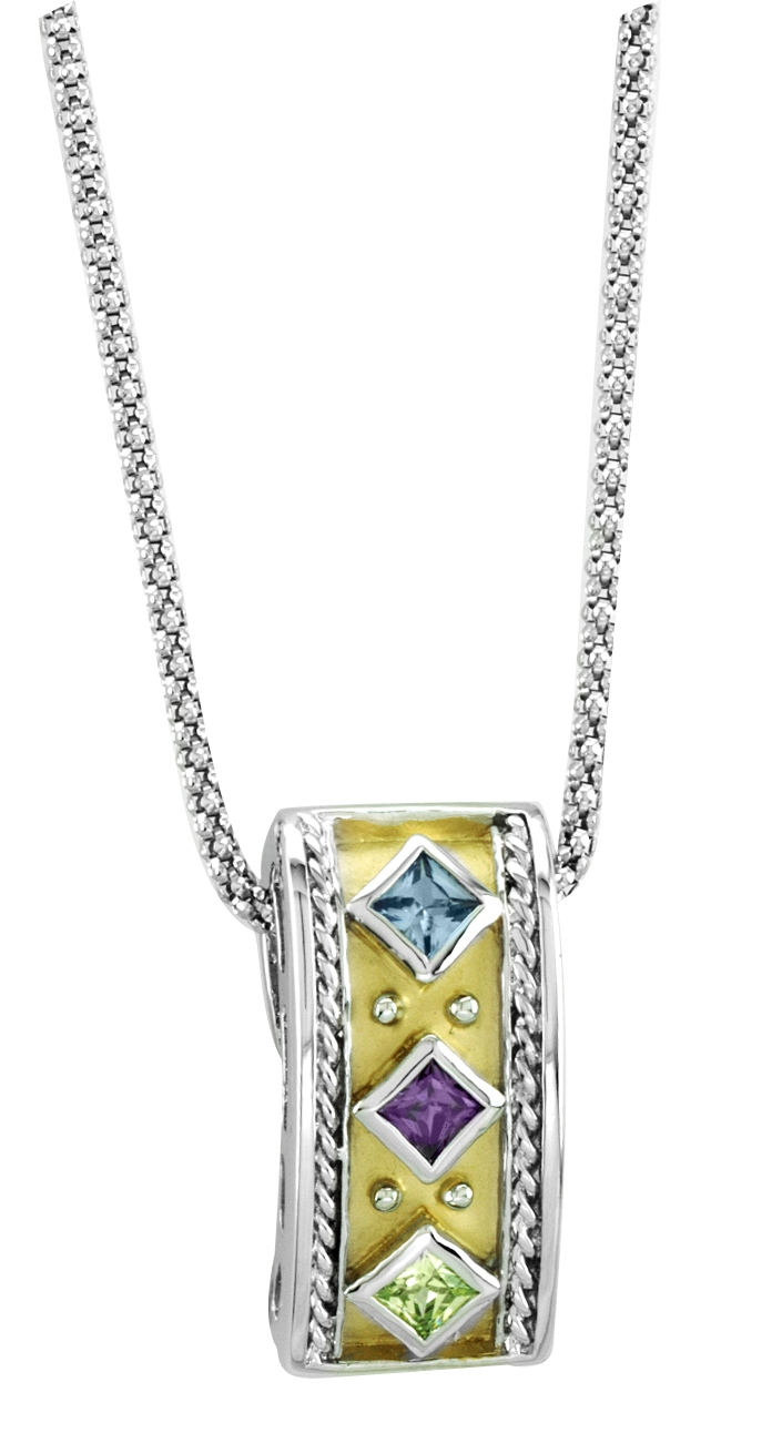 Kelly Herd .925 Sterling Silver Yellow Stone Pendant