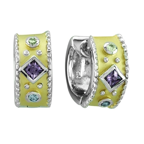Kelly Herd .925 Sterling Silver Yellow Multi Stone Earrings