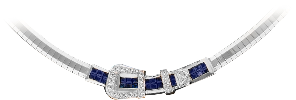 Kelly Herd 14K Gold Beautiful Sapphire Buckle Necklace