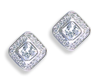 Kelly Herd .925 Sterling Silver Square Clear Earrings