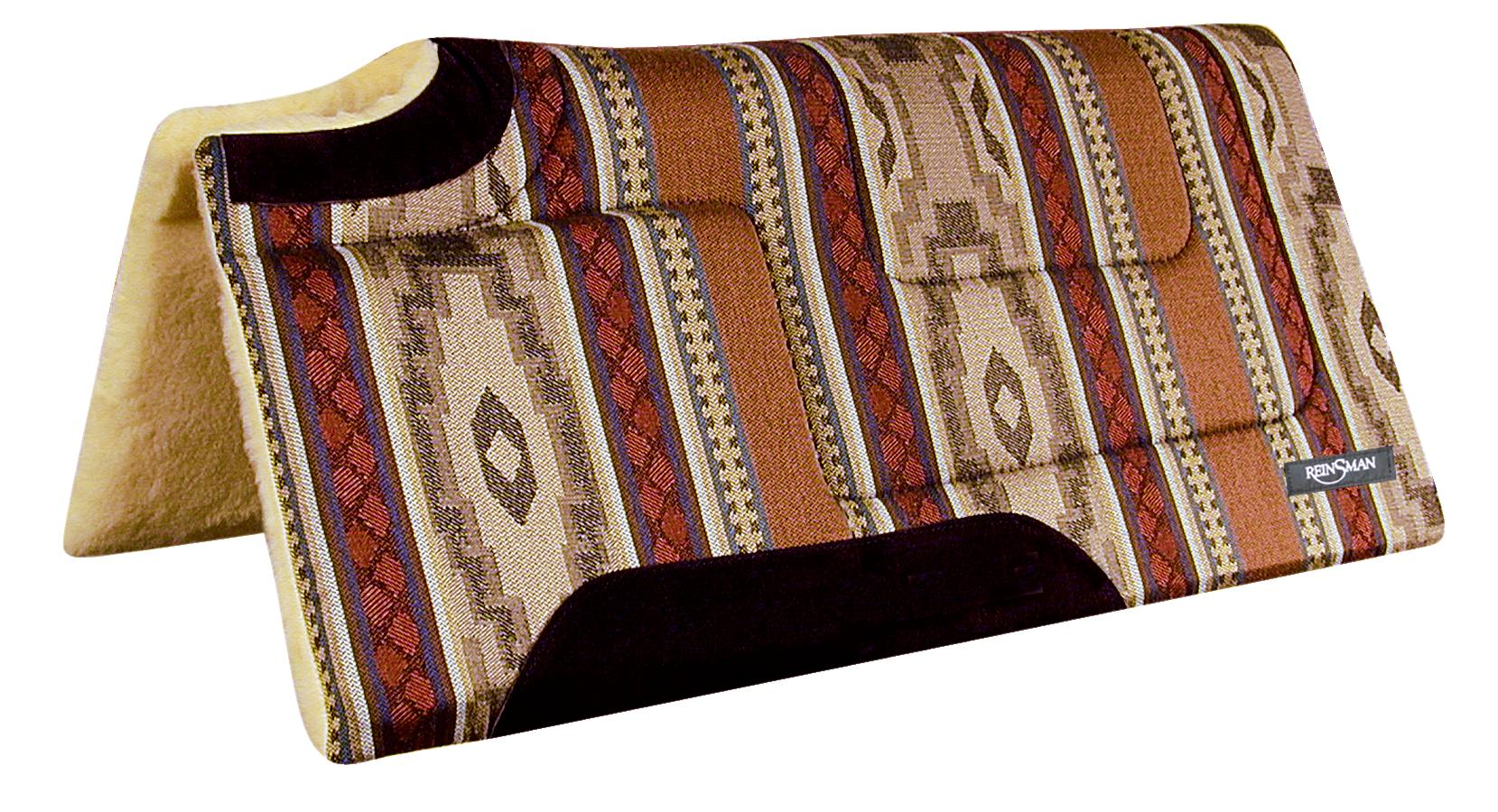 REINSMAN Square Cutback/Built-Up Fleece Herculon Pad - Lodge Trail Beige Print