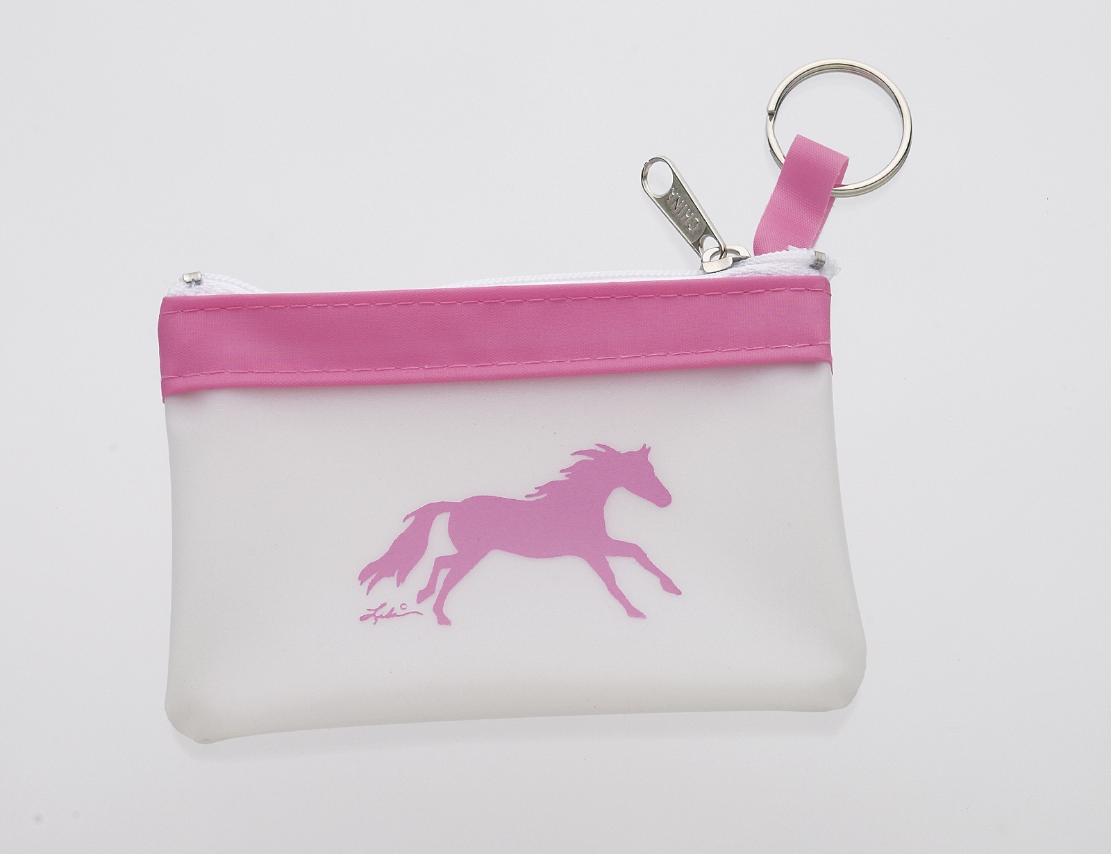 Lila Blakeslee Galloping Horse Pink Trim Coin Purse