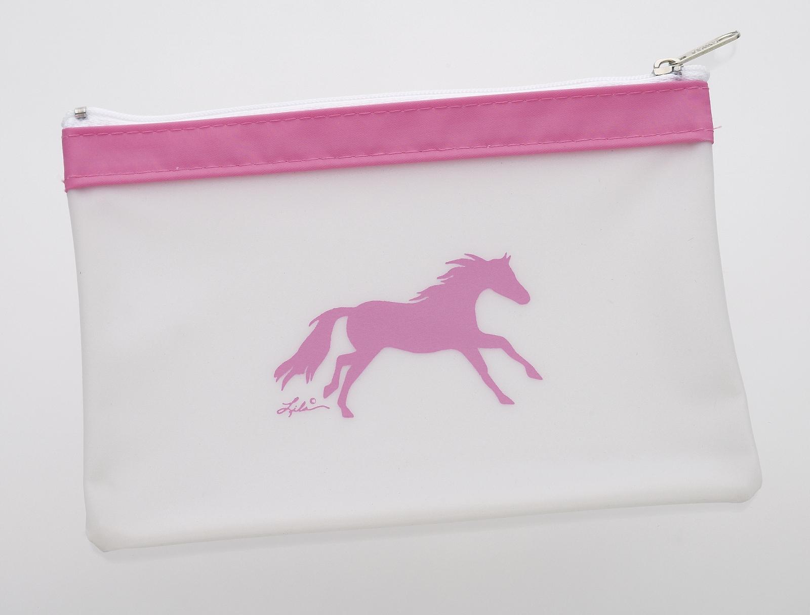 Lila Blakeslee Galloping Horse Pink Trim Cosmetic Bag