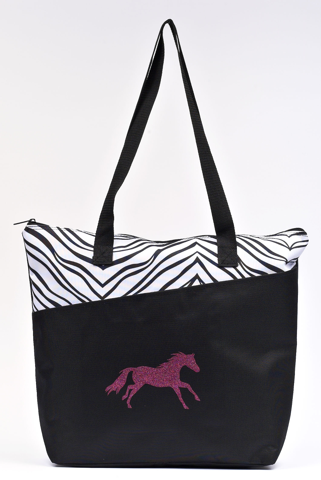 Running Horse Print Zippered Tote