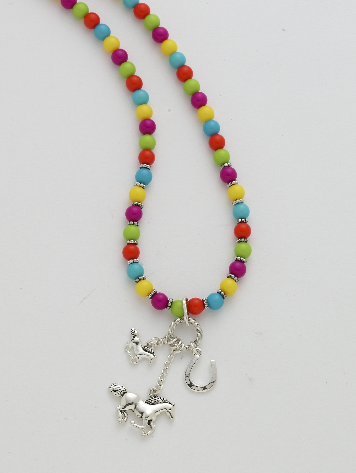 Multi Colored Beaded Running Horse Charm Necklace