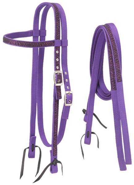 Tough-1 Nylon Browband Headstalls and Reins with Printed Zebra Overlay
