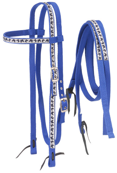 Tough-1 Nylon Browband Headstalls and Reins with Printed Horse Head Overlay