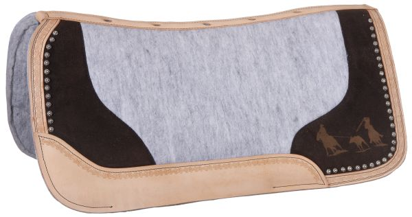 Tough-1 Felt Motif Saddle Pad - Team Roping