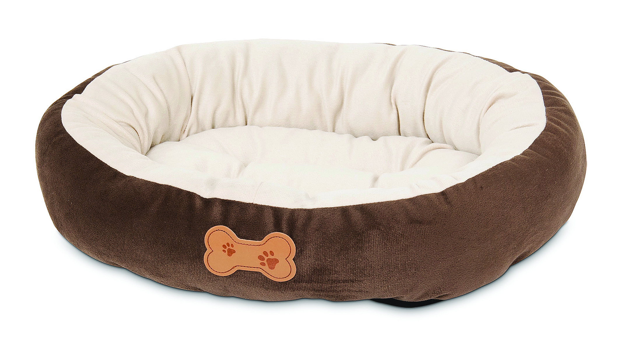 Petmate Round Bolster Bed With Bone Applique