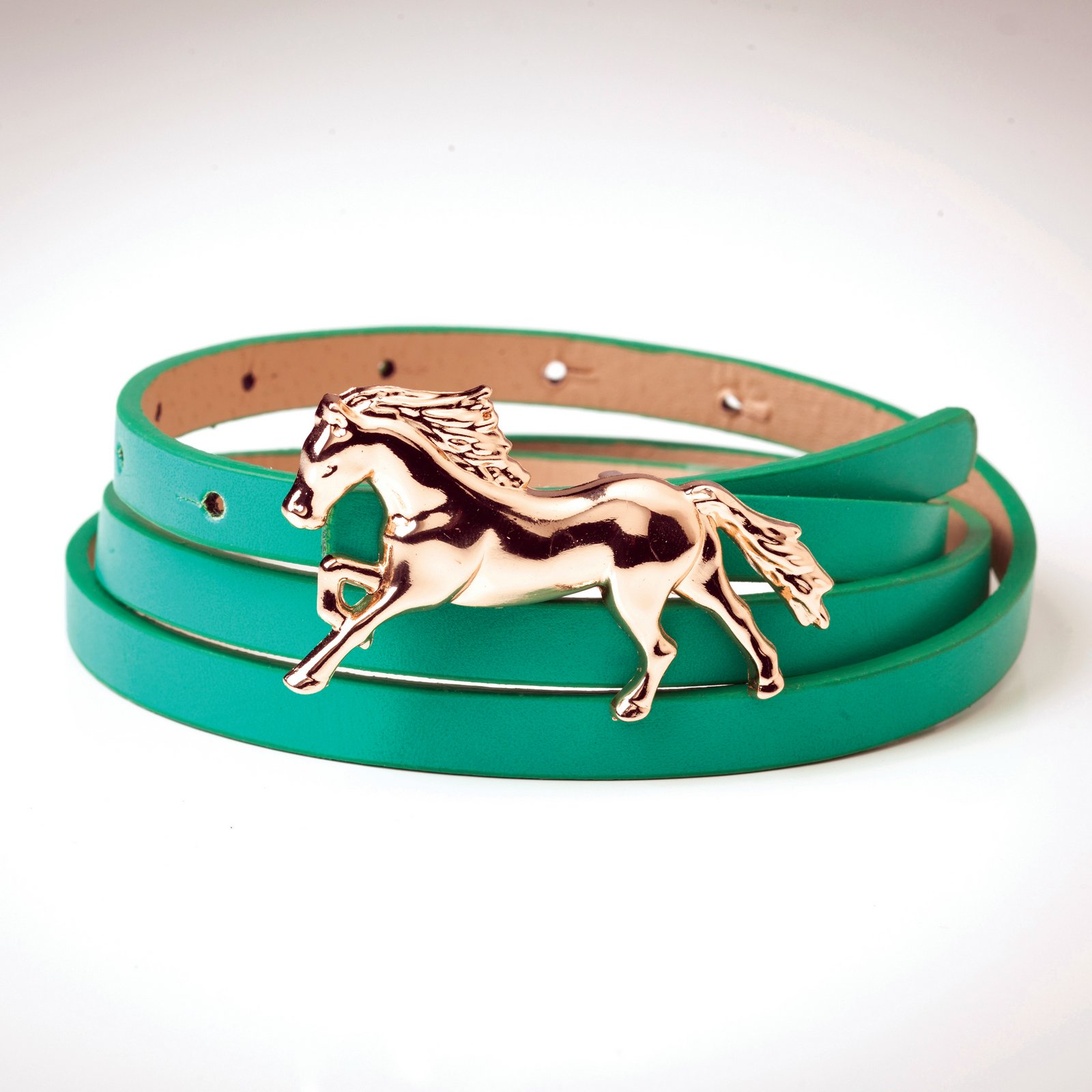 Leather Belt with Galloping Horse Buckle