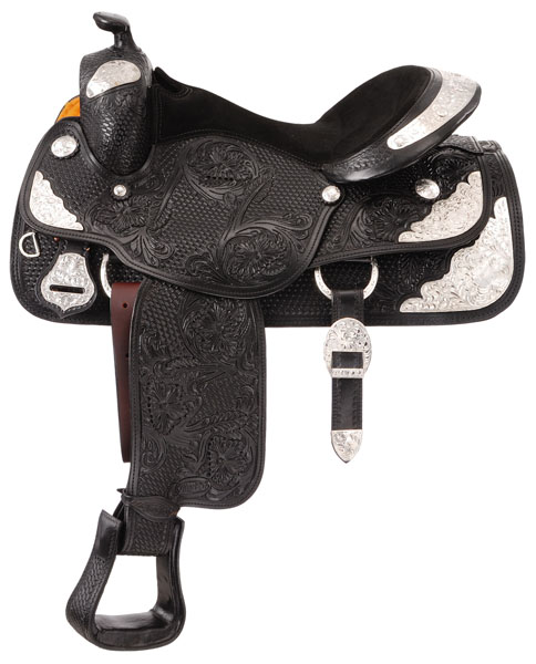 Silver Royal Premium Challenger Silver Show Saddle Package - Basket/Floral Tooling