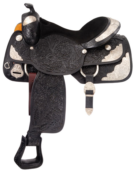 Silver Royal Premium Grand Majestic Silver Show Saddle Package - Large Floral Tooling