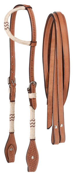 Tough-1 Leather Single Ear Headstall and Reins Set - Basket Stamp with Rawhide Cheek/Ear