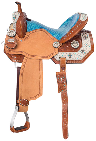 Silver Royal Desert Hope Barrel Saddle with White Hair Overlay