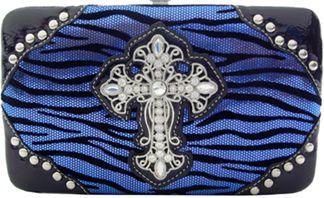 Shiny Zebra Print Wallet with Rhinestone Cross