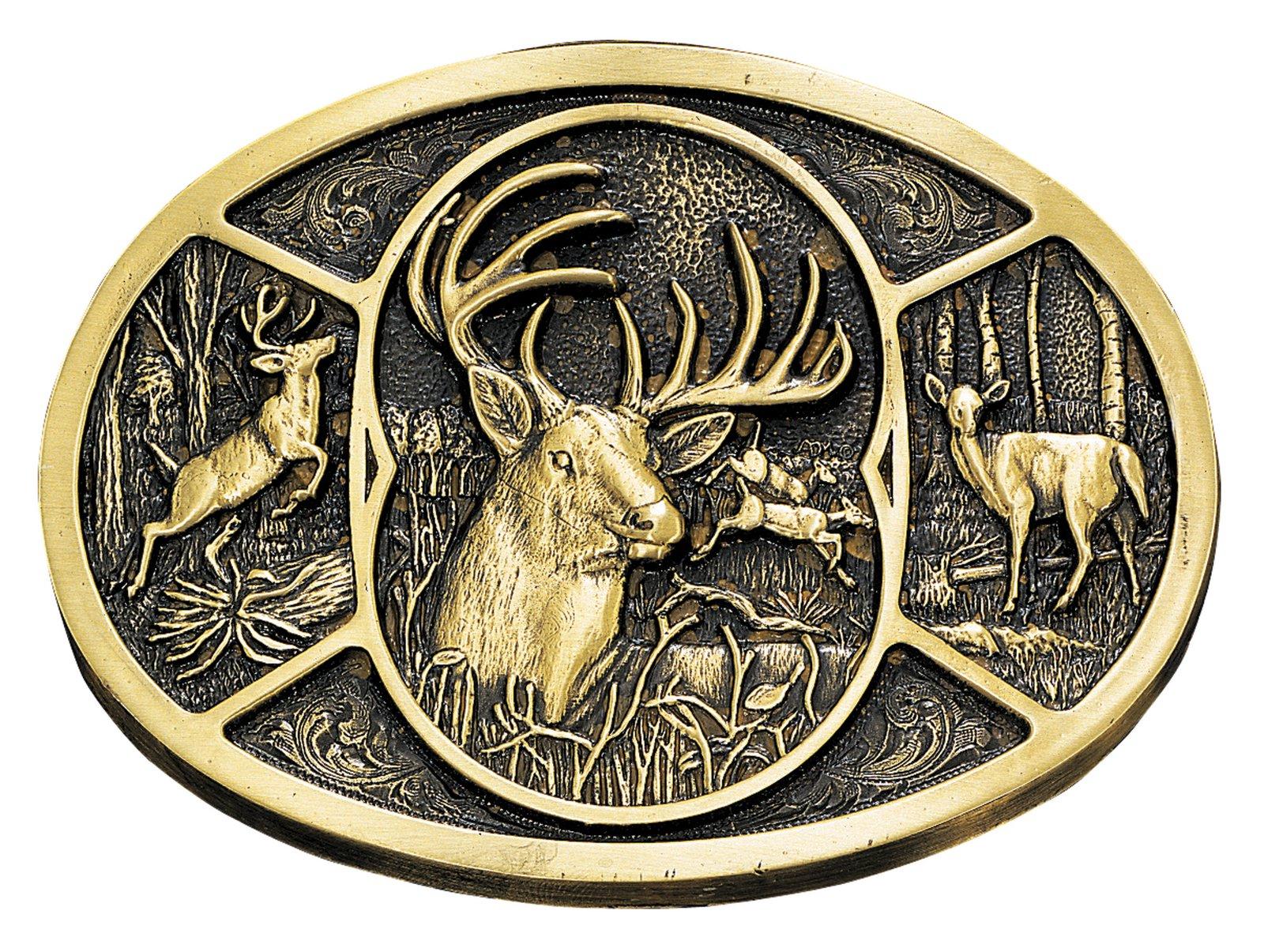 Montana Silversmiths Deer Brass Heritage Attitude Belt Buckle