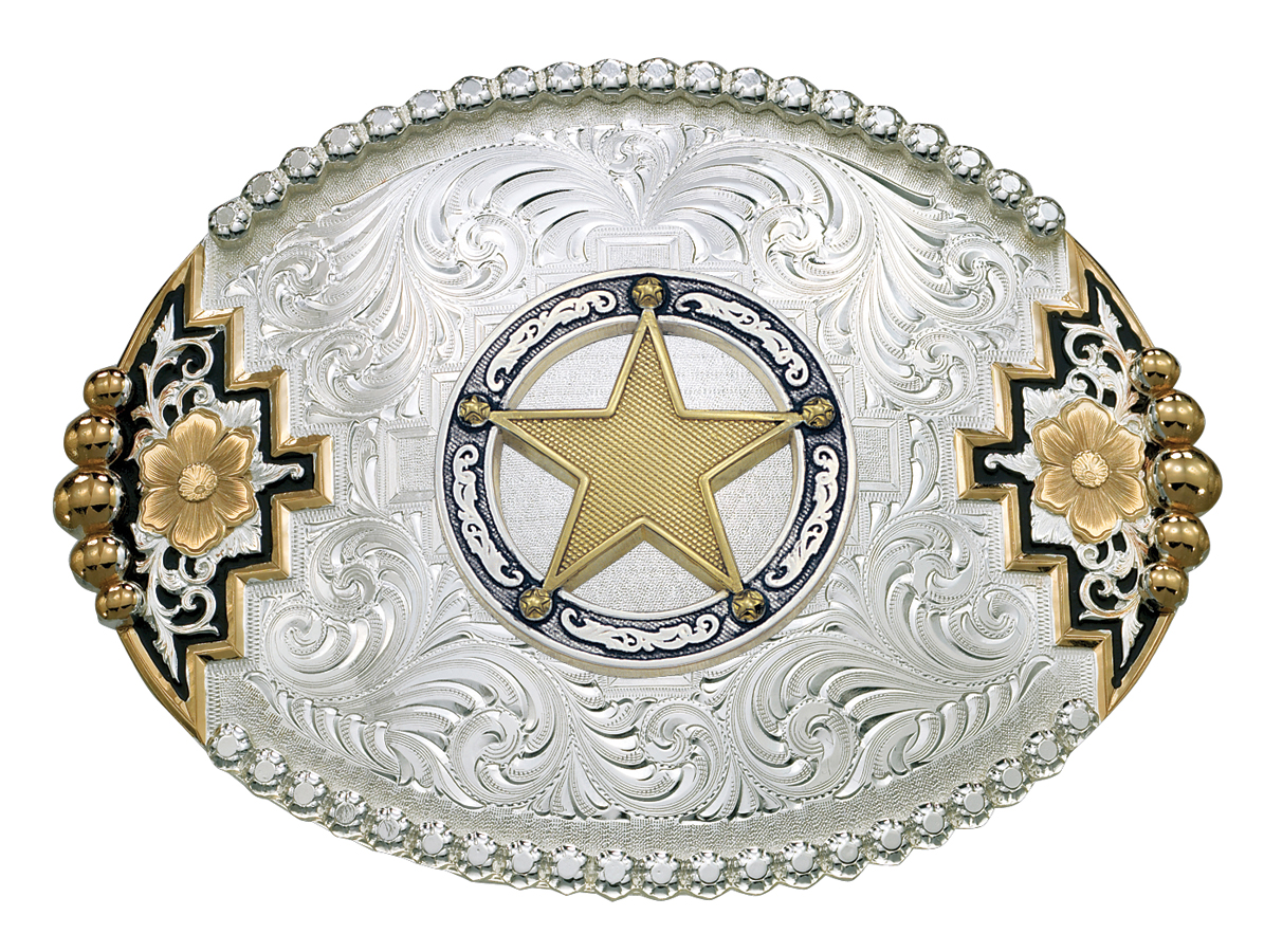 Montana Silversmiths Two-Tone Southwestern Accent Belt Buckle with Round Star Concho