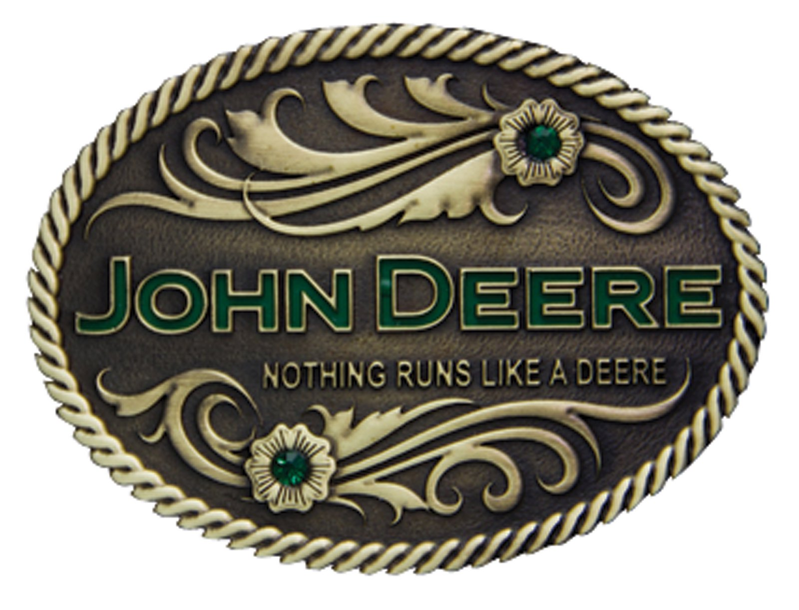 Montana Silversmiths Nothing Runs Like A Deere with Flowers Brass Heritage Attitude Buckle