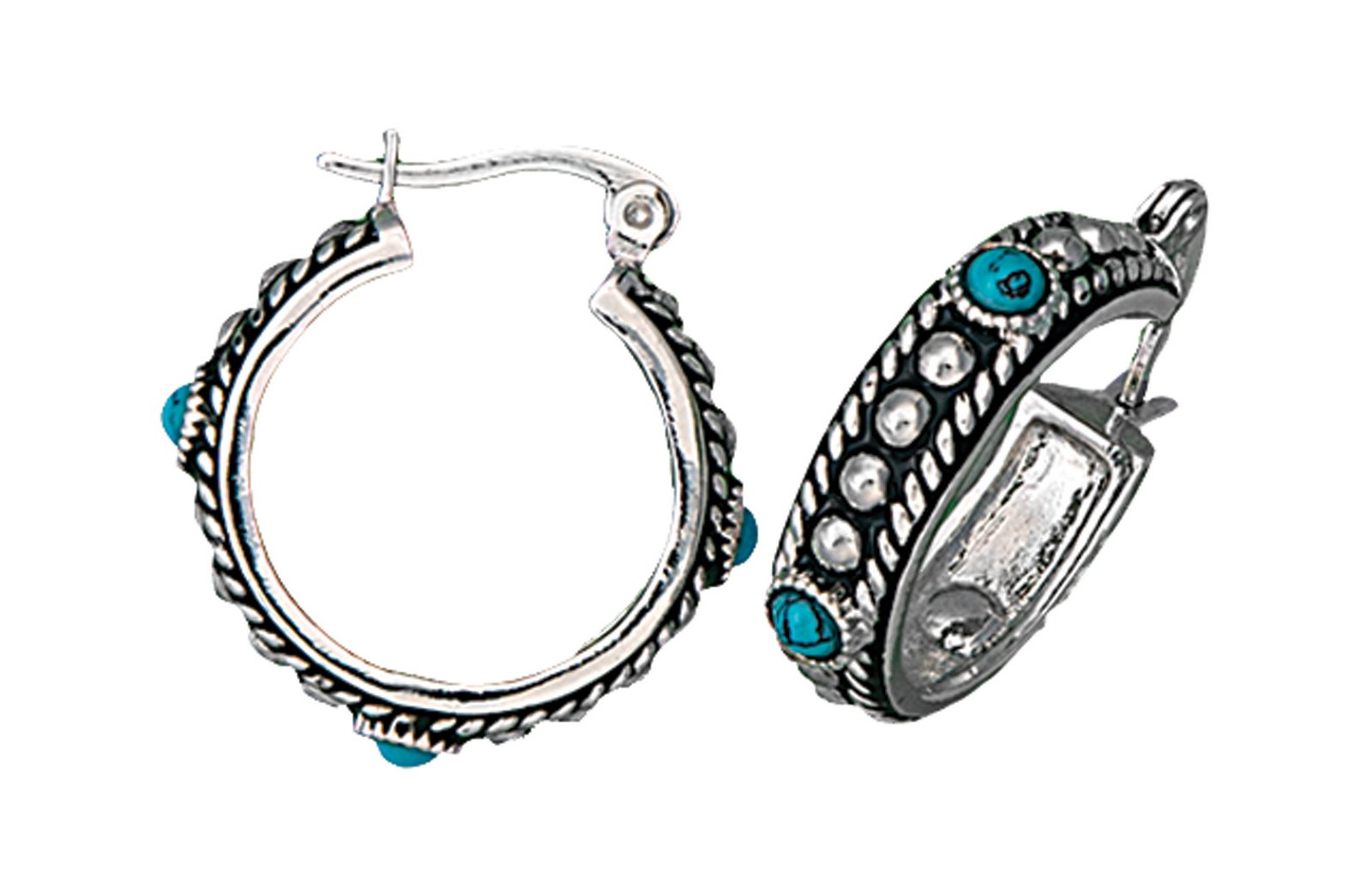 Montana Silversmiths Silver And Turquoise Studded Hoop Earrings