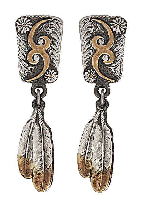Montana Silversmiths Classic Prairie Sky Feather Dangle Earrings