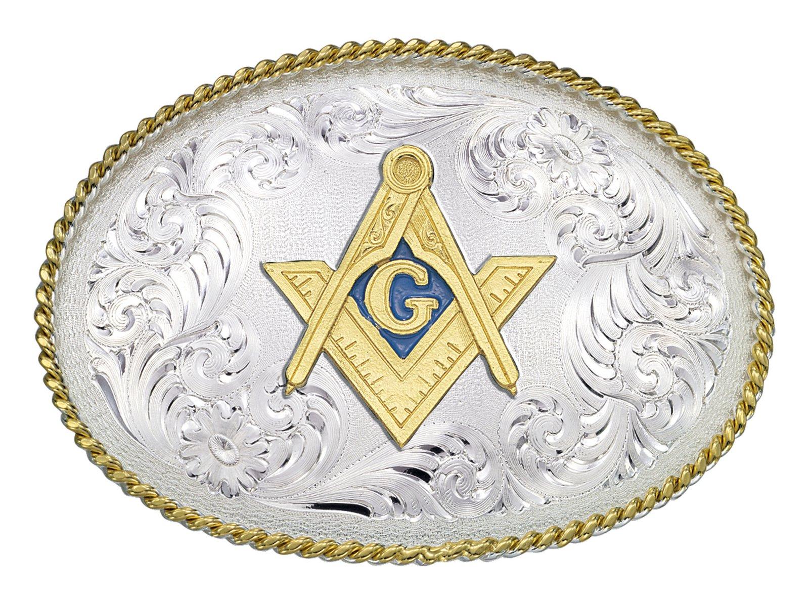 Montana Silversmiths 1340 Series Western Belt Buckle Masonic Emblem
