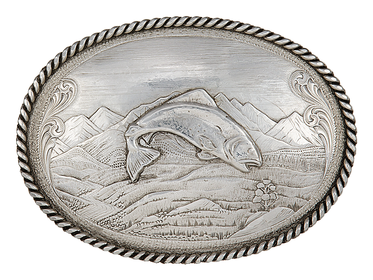 Montana Silversmiths Antiqued Mountain Scene Belt Buckle with Trout