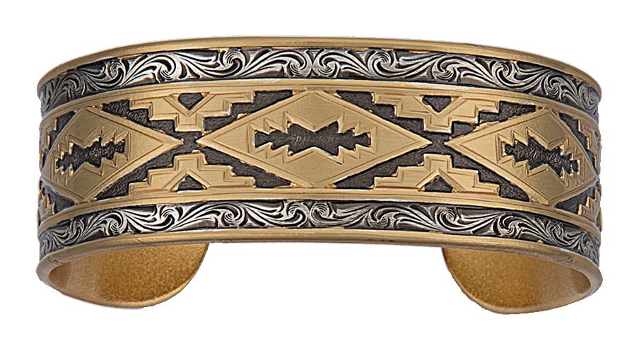 Montana Silversmiths Classics Aztec Pattern And Filigree Cuff Bracelet