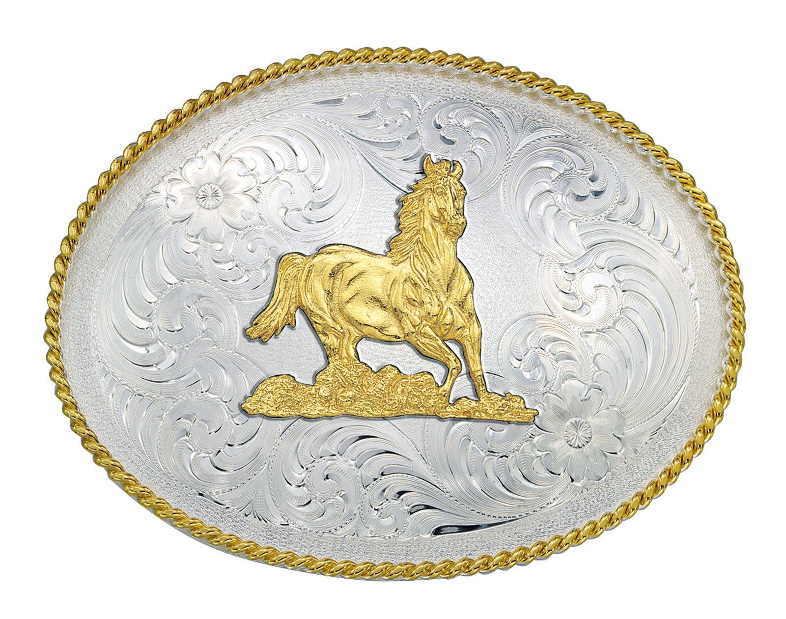 Montana Silversmiths 1350 Series Galloping Horse Western Belt Buckle