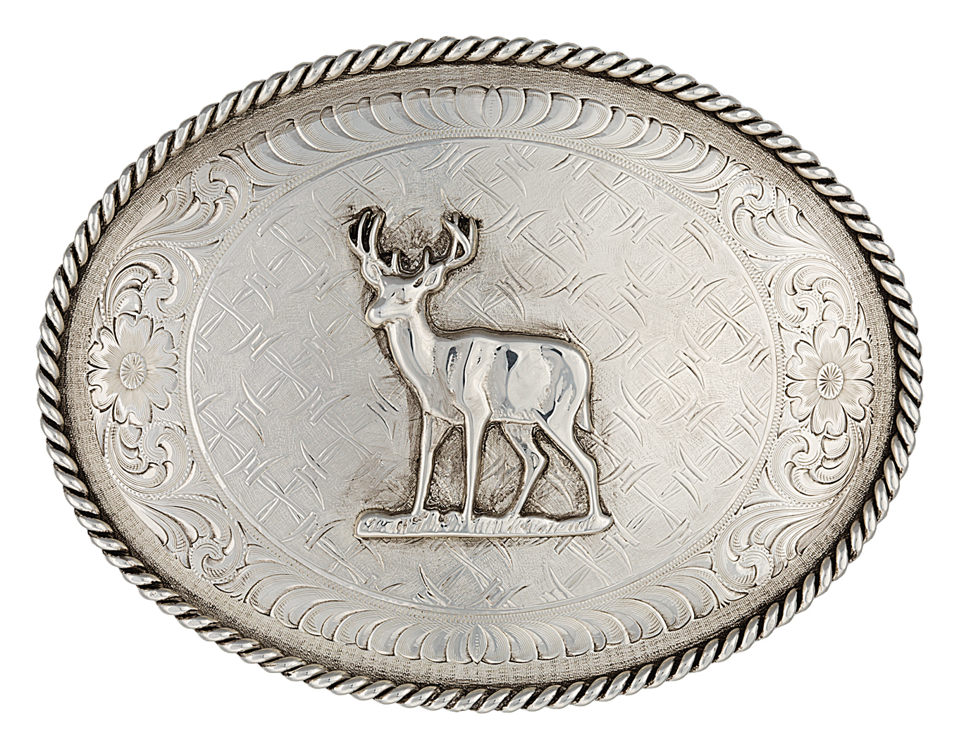 Montana Silversmiths Don'T Fence Me In Belt Buckle with Deer Figure