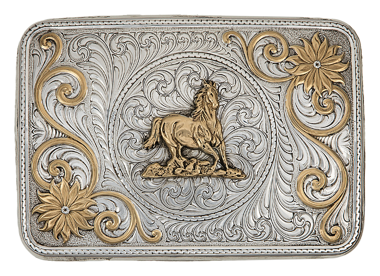 Montana Silversmiths Bitterroot Daydream Western Belt Buckle with Running Horse
