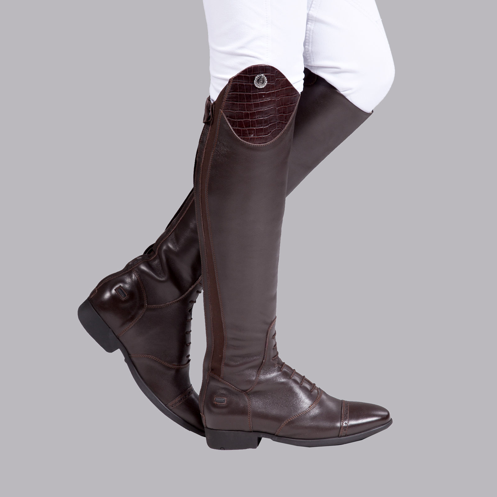 B Vertigo Jessie High Gloss Boots With Croco Pattern
