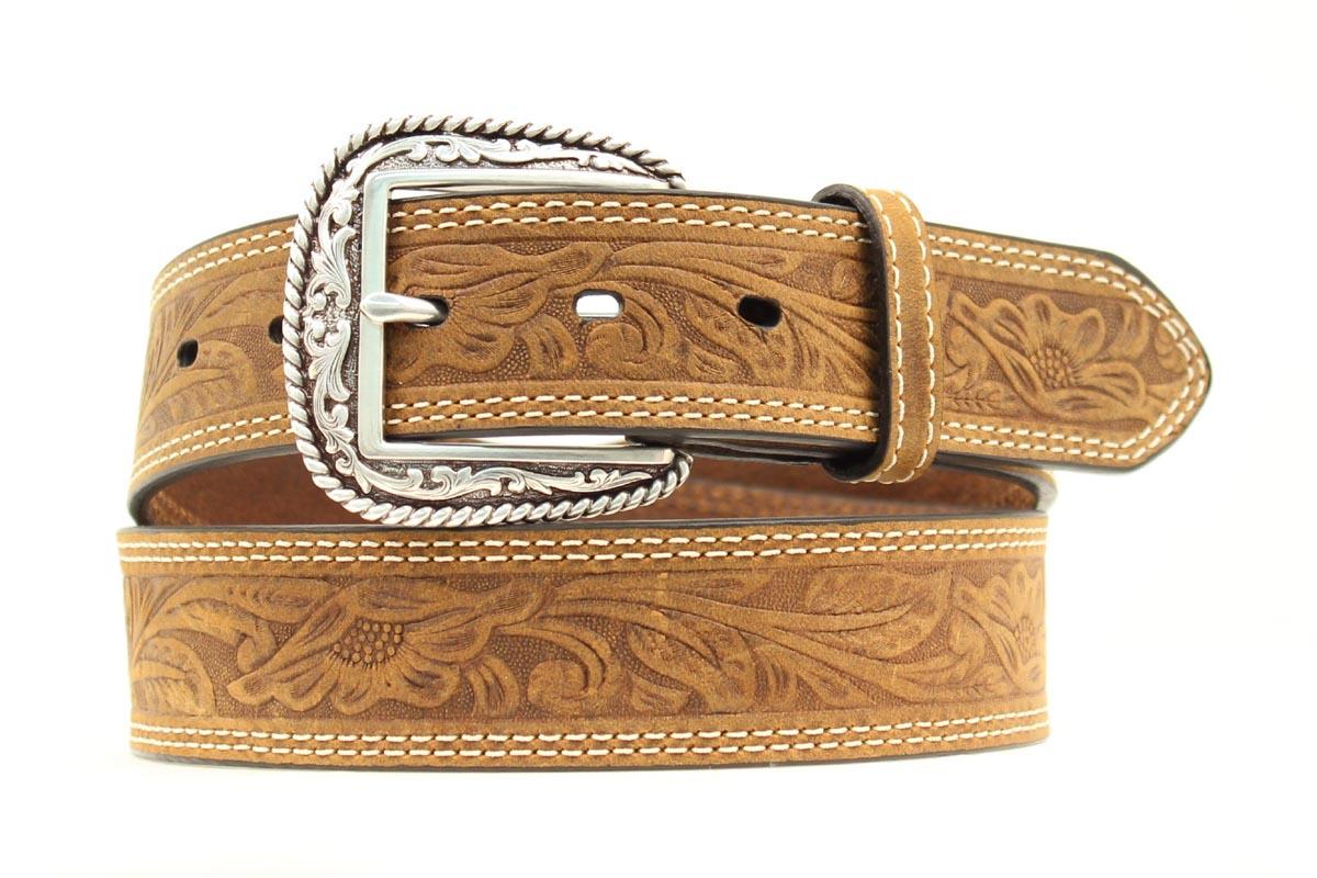 ARIAT 1 1/2'' Tooled Double Stitch Men's Belt