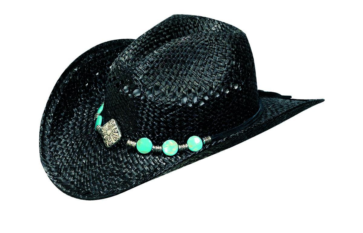 Blazin Roxx Raffia Hat with Diamond & Turquoise Conchos