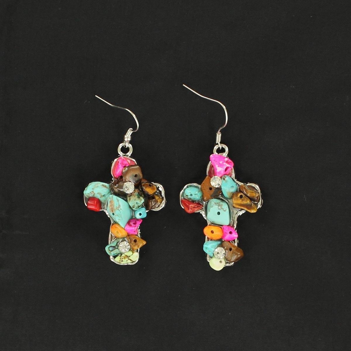 Blazin Roxx Chunky Stone Cross Earrings