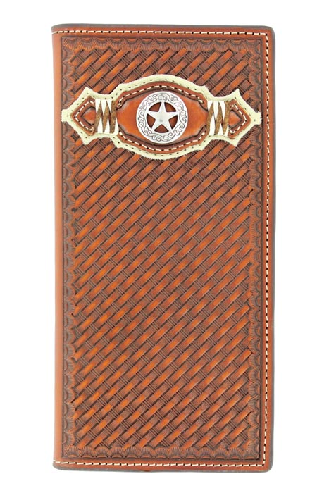 Nocona Men's Basketweave/Star Wallet