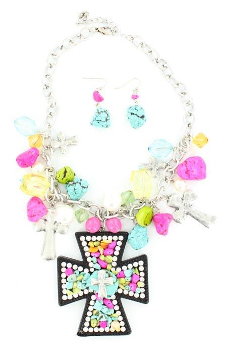 Blazin Roxx Stone and Crystal Cross Necklace