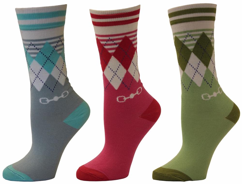 TuffRider Child's Dixie Argyle 3 Pack Socks