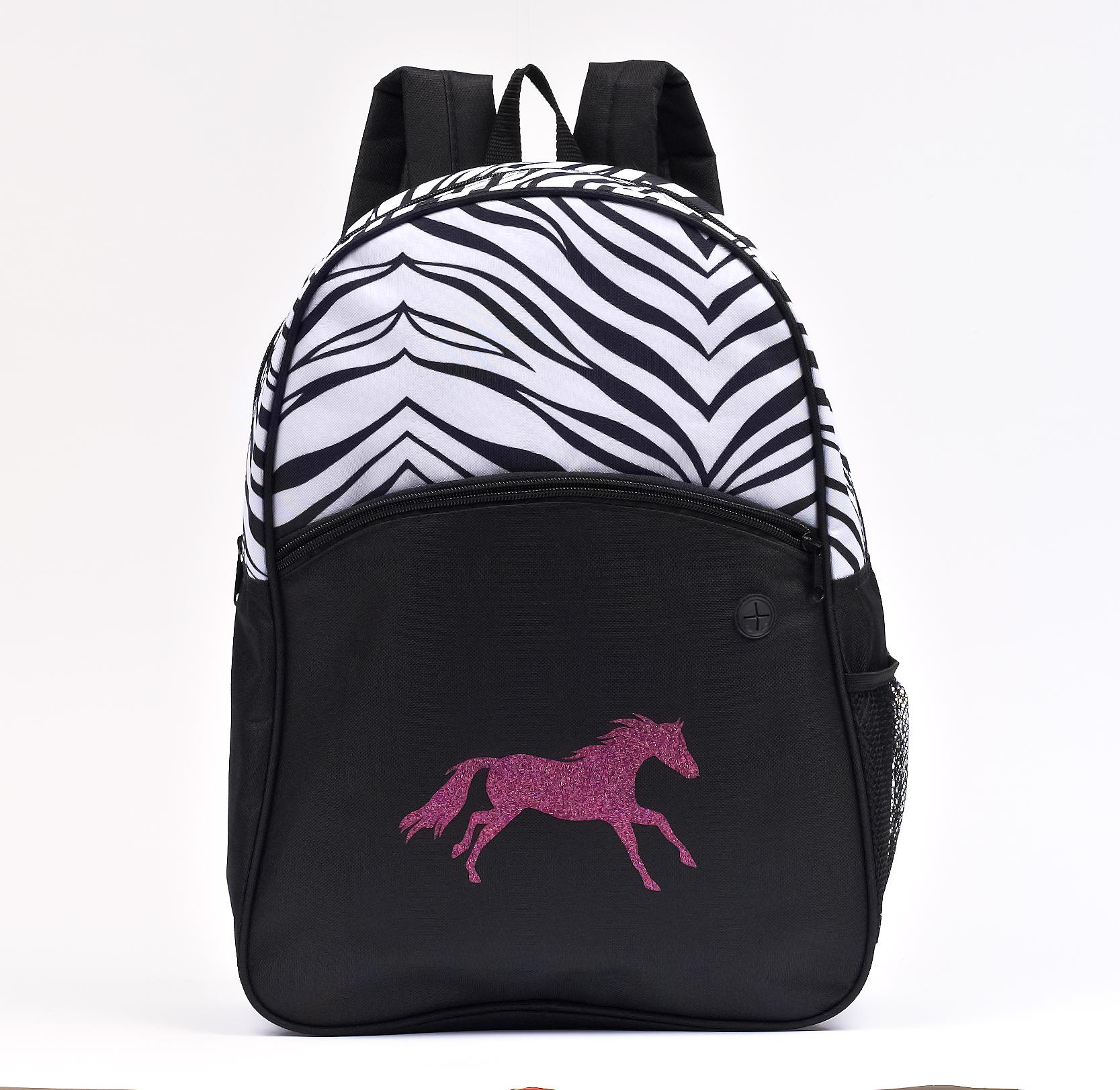 Lila Blakeslee Silhouette Glitter Horse Zebra Print Backpack