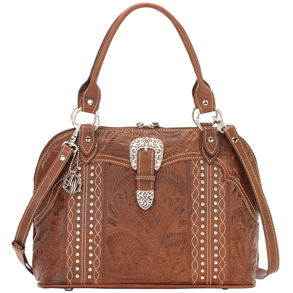 American West Twisted Trail Zip Around Satchel