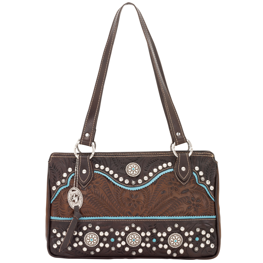 American West Hayloft Zip Top Tote Handbag
