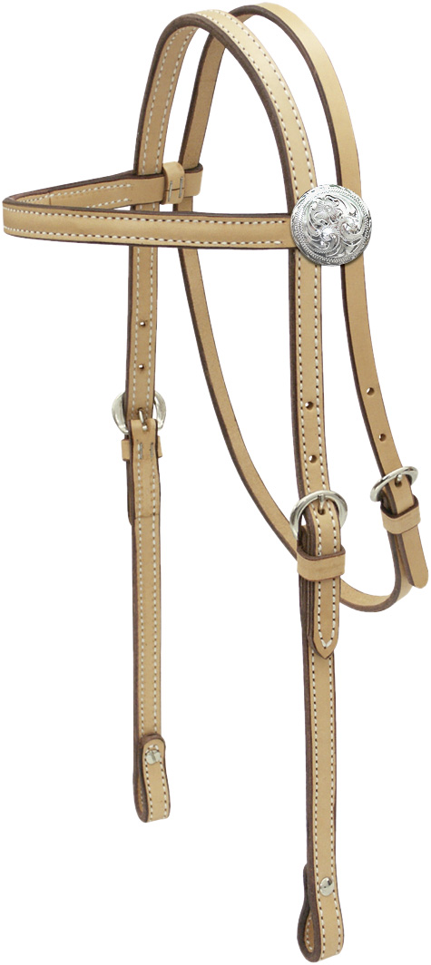 Billy Cook Saddlery Plain Brow H/S Silver/Concho