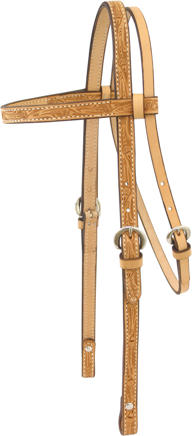 Billy Cook Saddlery Oak Leaf Tooled Brow Headstall