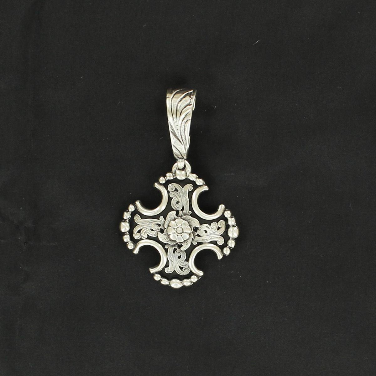 Western Charm Floral Maltese Cross Pendant